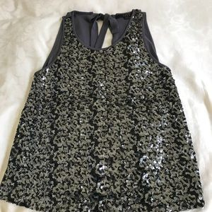 OVI Grey Sequined Sleeveless Shell Top Size Large